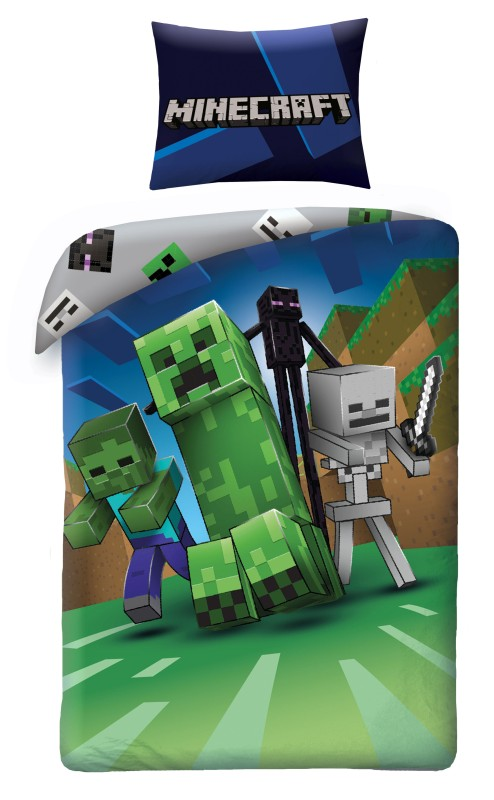 HALANTEX Lenjerie de pat Minecraft Monsters Bumbac, 140/200, 70/90 cm